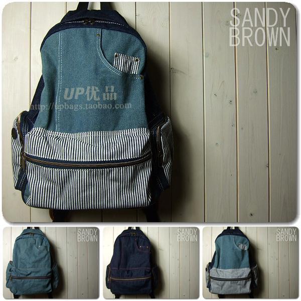 日本2013春夏新款 牛仔布拼接車縫線後背包書包旅行包-3色/單售