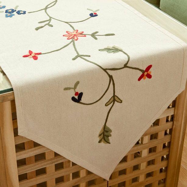 180x40cm田園北歐鄉村風手工布藝 餐桌旗 桌布 鞋櫃蓋布 桌巾 歐式桌旗 A38/單售