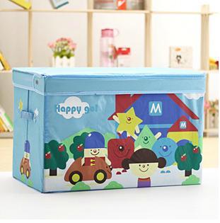 特大容量兒童玩具卡通圖案帶蓋收納箱玩具整理箱3款單售