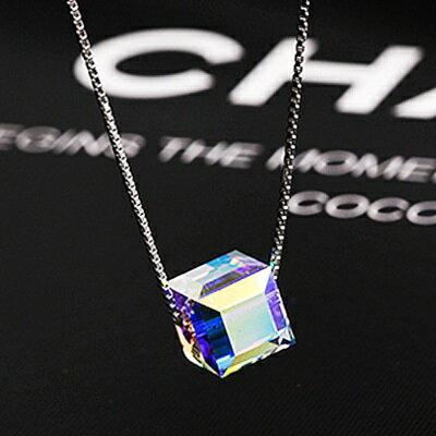 925純銀項鍊水晶吊墜-時尚精美簡約方塊女配件73qr43【獨家進口】【米蘭精品】