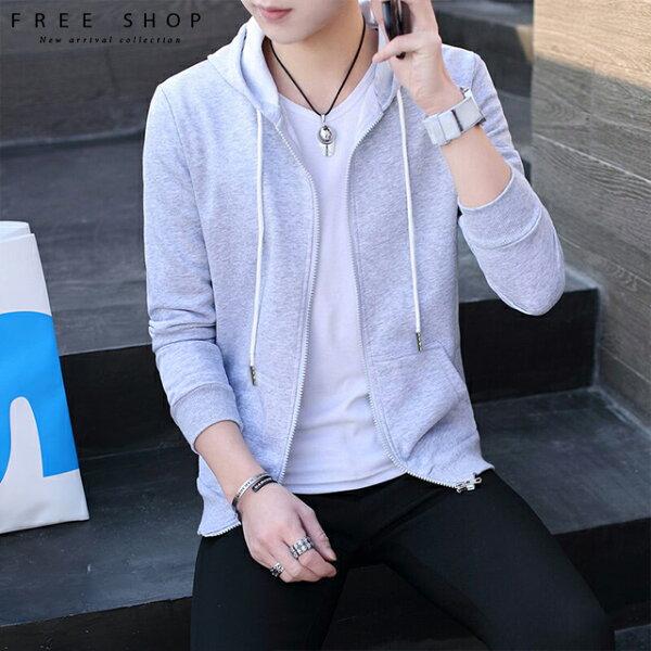 FreeShop百搭簡約純色素面連帽外套黑色灰色白色男女棉外套帽外套韓版ins連帽BF風【QCCDI1093】