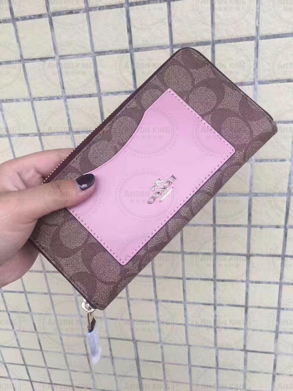 美國Outlet代購 Coach 全新正品 F57318 歐普印花口袋拚色拉鍊長夾 粉色 零錢包 手拿包 皮包 多色可選