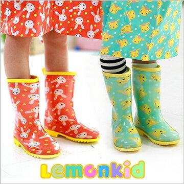 Lemonkid◆正韓可愛滿版動物圖案卡通果色兒童雨靴雨鞋