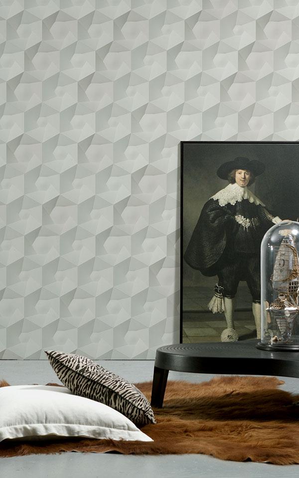 NLXL 灰色幾何形  3D 石紋 HEXA CERAMICS WALLPAPER BY STUDIO RODERICK VOS VOS-01 0