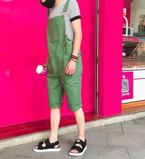 FINDSENSE MD 日系 時尚 男女情侶款 休閒吊帶褲 七分褲 背帶褲 工作褲