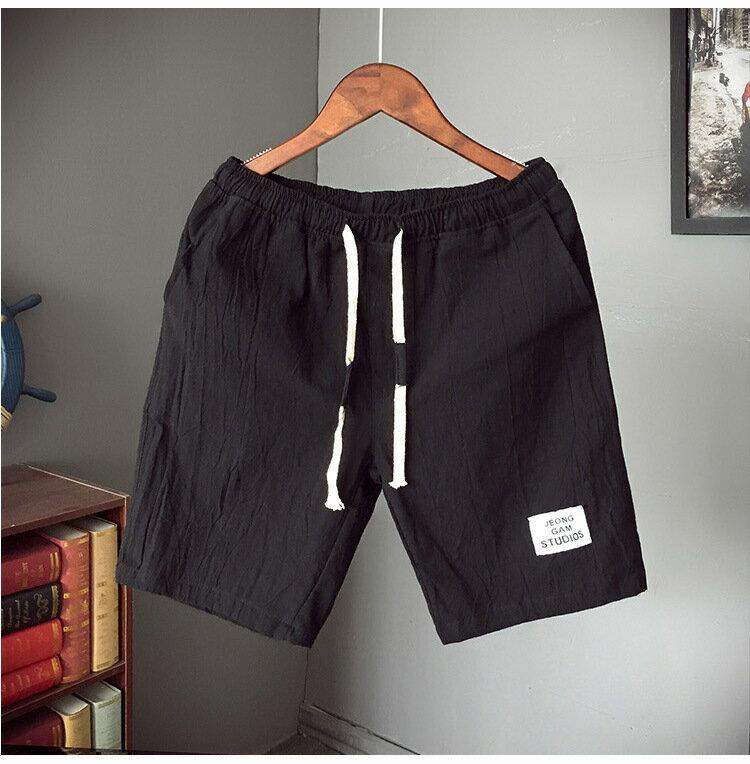 夏季棉麻短褲男加肥加大碼日系潮胖寬鬆中褲五分褲休閒薄款沙灘褲