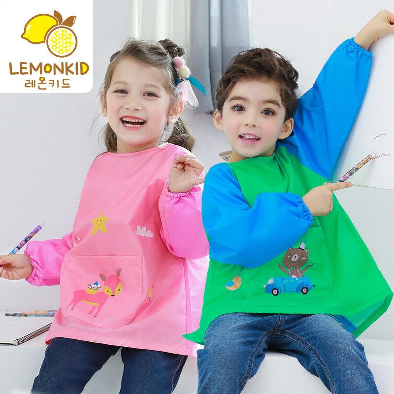 Lemonkid◆六色動物款兒通畫畫衣罩衣全罩式