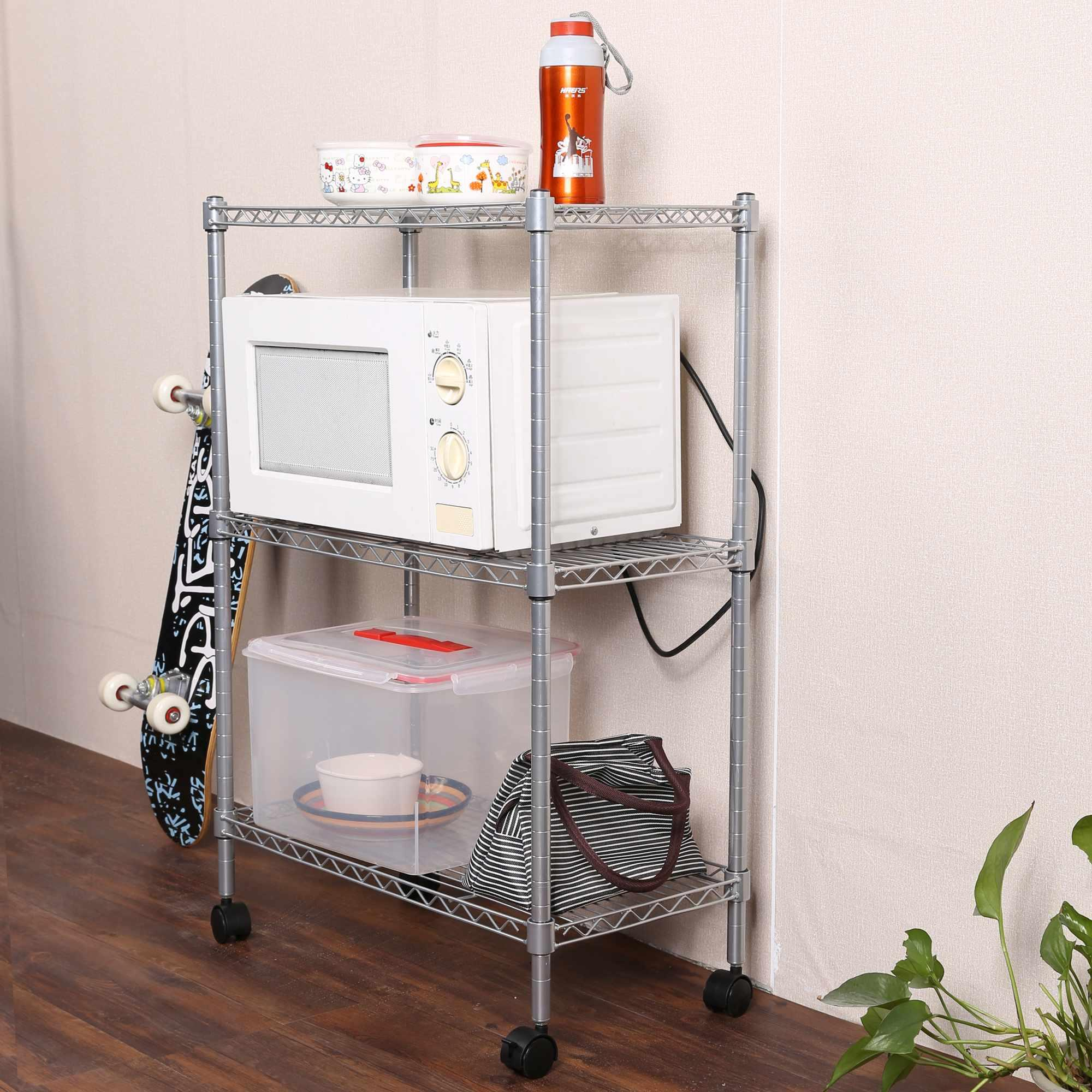 3-Tier Wire Shelf Shelving Unit Rolling Cart Rack with Wheels 2