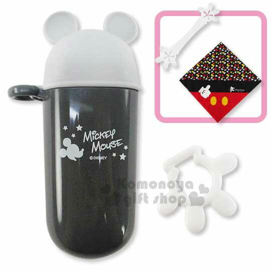 〔小禮堂嬰幼館〕迪士尼 米奇 日製餐巾附夾收納罐組《灰黑.造型蓋》可攜帶式