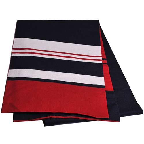 BALLY 雙面藍紅品牌經典配色高質感羊毛圍巾(深藍/棗紅/白)