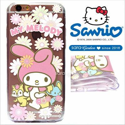 授權 三麗鷗 Sanrio 美樂蒂 Melody 浮雕 彩繪 iPhone 6 6S Plus Note5 Z5 Z5P A5 A7 A9 手機殼 軟殼 郊遊繁花【D0220185】