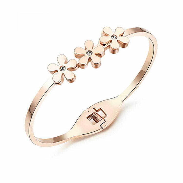 款 精美簡約雛菊 女款鈦鋼手環