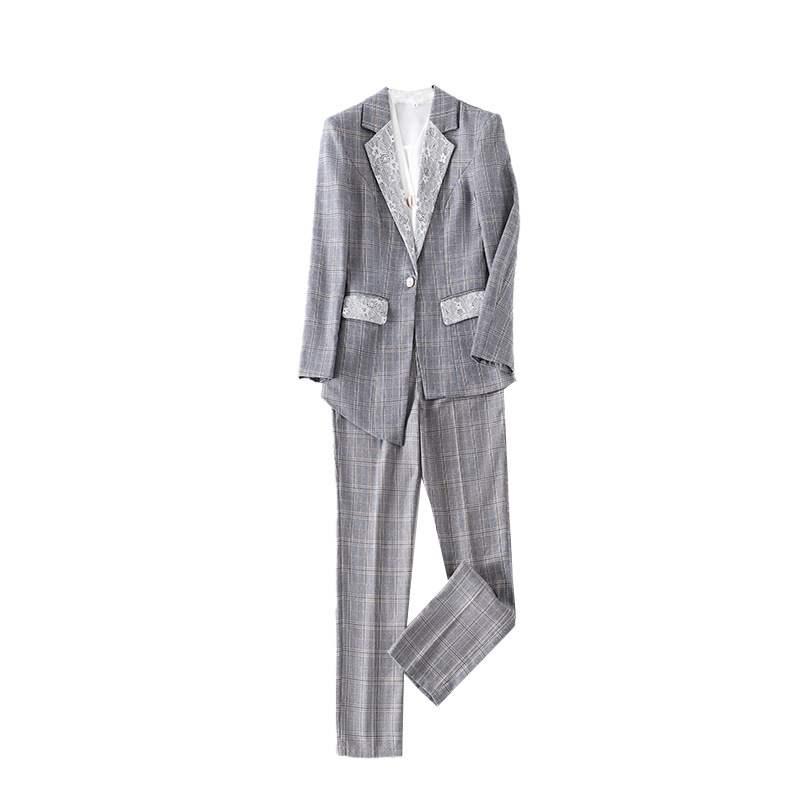 西裝套裝外套+長褲(兩件套)-格紋拼接蕾絲不對稱女西服2色73yz49【獨家進口】【米蘭精品】