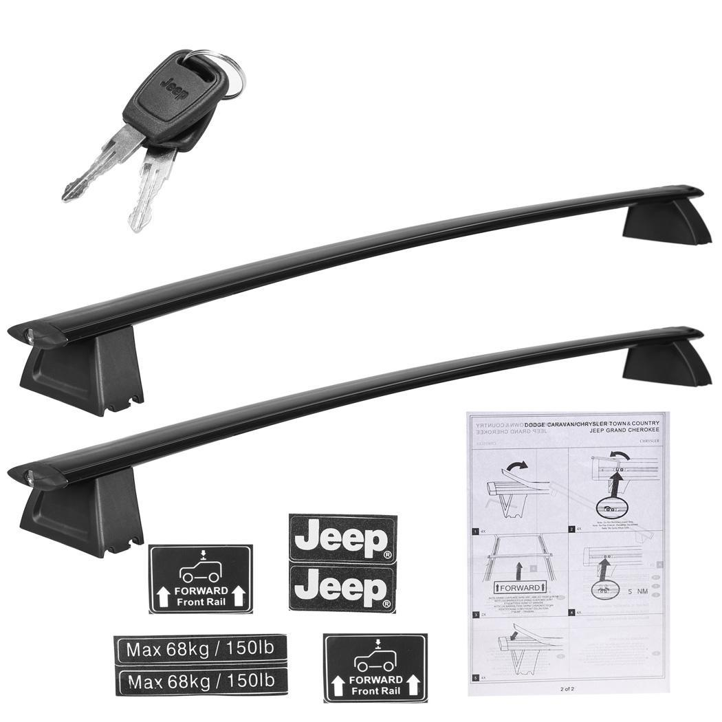 Black Front and Rear Roof Rack Cross Bars Set For 2011-2016 Jeep Grand Cherokee 3