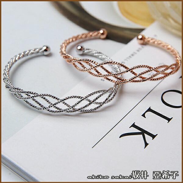 『坂井.亞希子』簡約個性金屬編織網狀手環