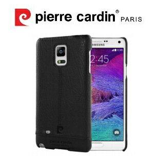 [ Samsung Note4 ] Pierre Cardin法國皮爾卡登高級牛皮品牌經典不敗款真皮手機殼/保護殼 黑色