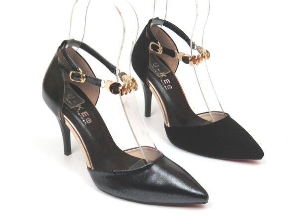 *免運*跟鞋【彩虹屋】典雅金屬扣環繞踝細跟高跟鞋15-GS8502(黑黑絨)☆現+預