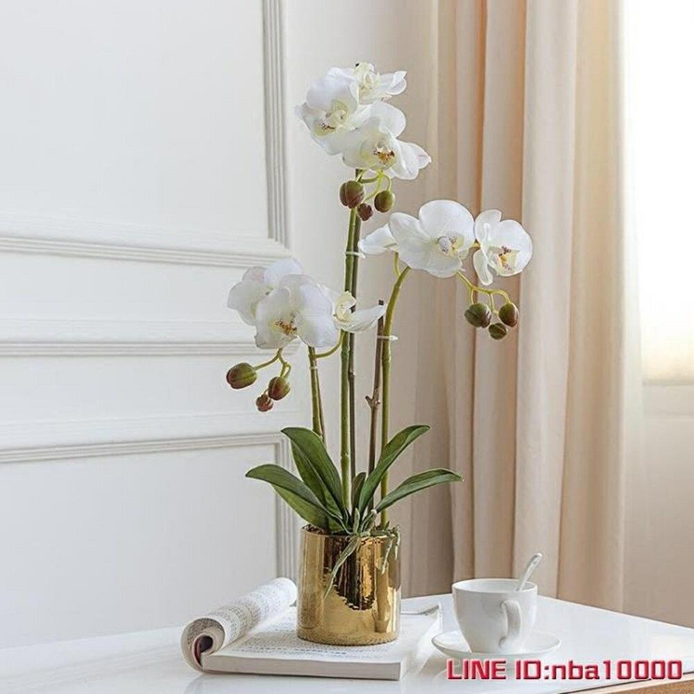 手感保濕蝴蝶蘭仿真花套裝花瓶盆栽假花裝飾花客廳擺設花藝3杈花 JD CY潮流站 0