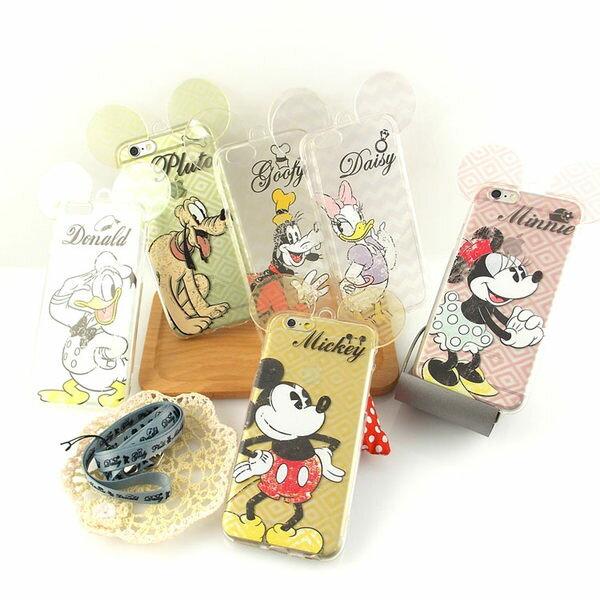 [APPLE]【Disney】耳朵造型彩繪透明保護軟套-復古斑駁系列[I6,I6S/I6+,I6s+] 4