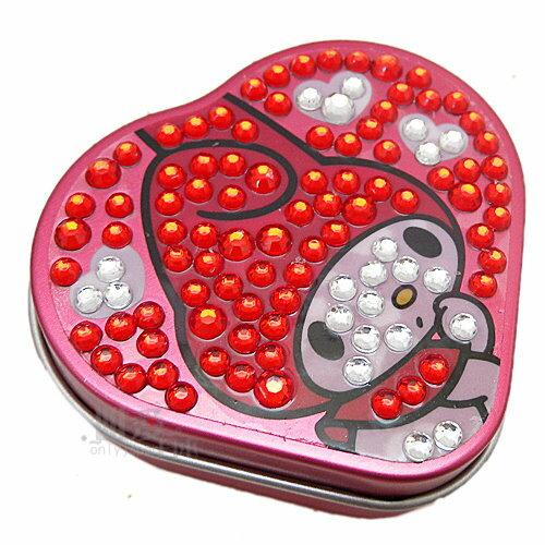 【唯愛日本】13013000025 迷你愛心收納盒附鏡紅鑽 三麗鷗 Melody 美樂蒂 迴紋針盒 飾品盒