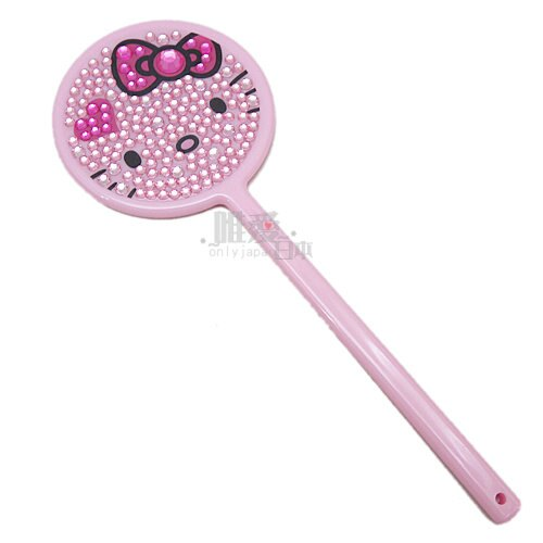 【真愛日本】13020700005 手拿鏡-鑲鑽粉結愛心 三麗鷗 Hello Kitty 凱蒂貓 隨身鏡 圓鏡 正品