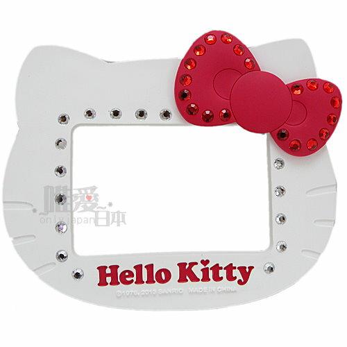 【唯愛日本】13031600074 矽膠頭型吸鐵相框-水鑽紅結白 三麗鷗 Hello Kitty 凱蒂貓 頭型相框