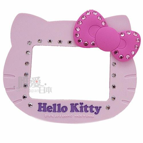 【唯愛日本】13031600075 矽膠頭型吸鐵相框-水鑽粉結粉 三麗鷗 Hello Kitty 凱蒂貓 頭型相框