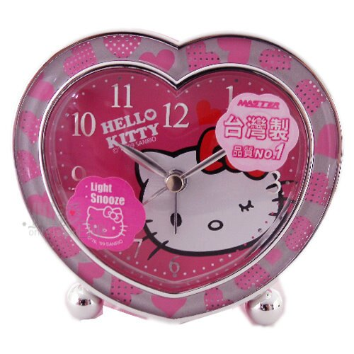 【唯愛日本】11043000017 鬧鐘-大臉心型圓珠桃紅 三麗鷗 Hello Kitty 凱蒂貓 擺鐘 台灣授權