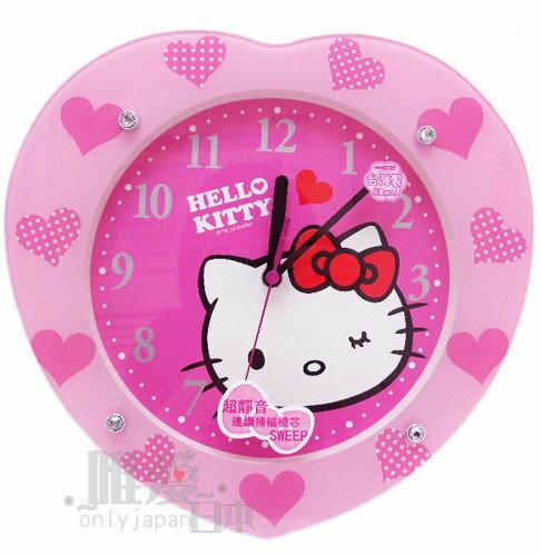 【真愛日本】1050300007 心型靜音掛鍾-咪眼粉 三麗鷗 Hello kitty 凱蒂貓 壁鐘 時鐘 台灣製