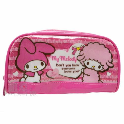 【唯愛日本】 13042100006 亮膠寬口筆袋-朋友愛心桃 Melody 美樂蒂 鉛筆盒 收納包 正品
