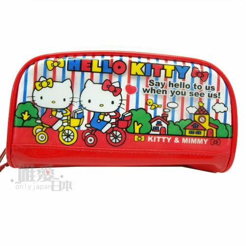 ~唯愛 ~ 13042100007 亮膠寬口筆袋~騎腳踏車紅 Hello Kitty 凱蒂