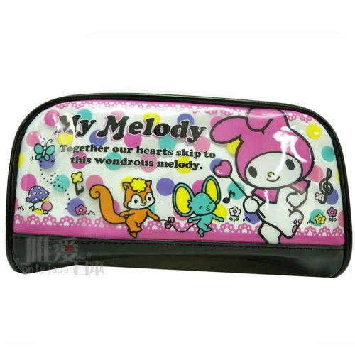 【唯愛日本】 13042100009 亮膠寬口筆袋-朋友唱遊白 Melody 美樂蒂 鉛筆盒 收納包 正品