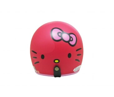 【真愛日本】全罩式復古騎士帽 四分之三3/4帽 kitty 大臉蝴蝶結-霧紅 安全帽 騎士帽 復古帽