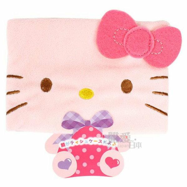 【唯愛日本】14051600013 絨毛面紙套-電繡KT 三麗鷗 Hello Kitty 凱蒂貓 化妝包 正品