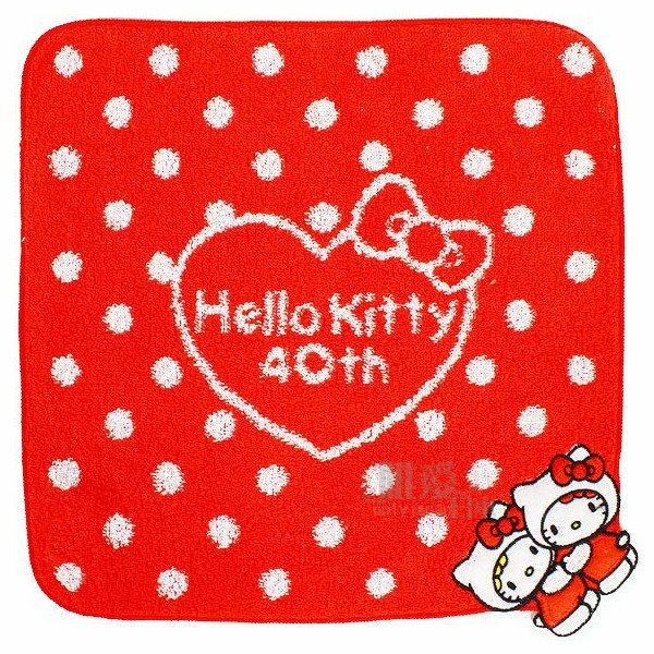 【唯愛日本】14051600019 40th純棉方巾-KT&Mimmy 三麗鷗 Hello Kitty 凱蒂貓 毛巾 手帕