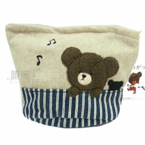 *唯愛日本*7041300072 熊的學校倒梯型錢包-與黑熊 繪本系列 熊熊 化妝包 收納包 正品