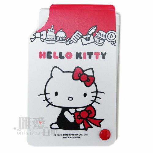 < 唯愛日本> 12090600001 名片夾-緞帶白 三麗鷗 Hello Kitty 凱蒂貓 名片套 卡片套 車票包