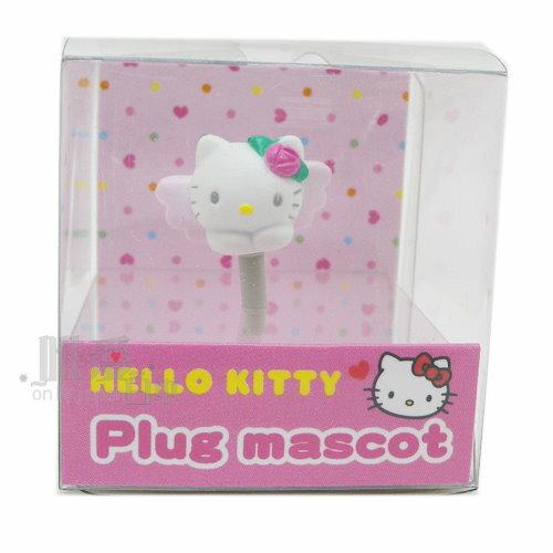 < 唯愛日本>12090600020 耳機孔塞-頭形天使三麗鷗 Kitty 凱蒂貓 手機防塵套 手機裝飾品 歐美