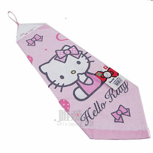 < 唯愛日本> 10050100027 純綿擦手巾-粉結側坐 三麗鷗 Hello Kitty 凱蒂貓 毛巾 掛巾 浴室浴品