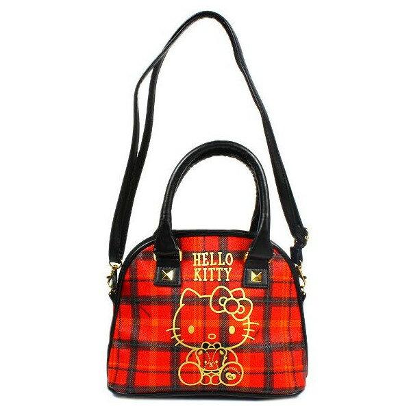 【唯愛日本】14091500015 波士頓包S-40TH蘇格蘭紅格 三麗鷗 Hello Kitty 凱蒂貓 包包 側背