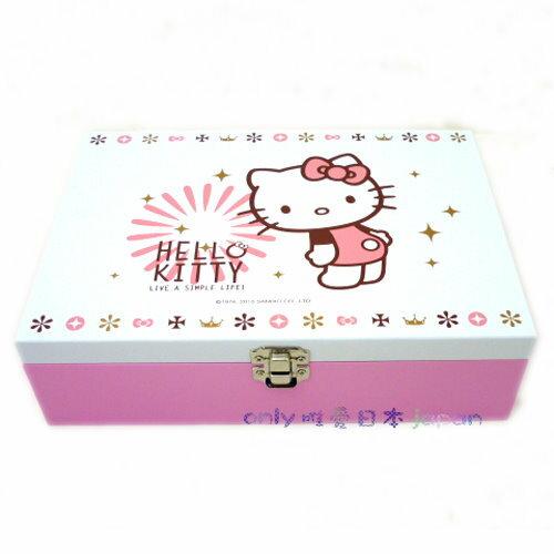 【真愛日本】10112100001 燙金珠寶盒附鏡-煙火 三麗鷗Hello kitty 凱蒂貓 台灣授權