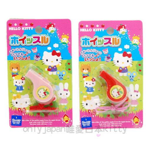 【真愛日本】9021500005 三麗鷗Hello kitty 凱蒂貓 哨子玩具-蘋果精靈 紅/粉 隨機不挑款