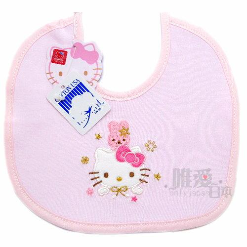 【真愛日本】10061000061 側開圍兜小-粉色提花 三麗鷗 Hello Kitty 凱蒂貓 口水巾 圍兜兜
