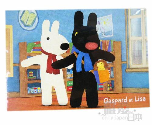 *~Gaspard et Lisa博物館~*A1042800002 麗莎&賈斯伯 黑白狗 名信片-與寵物 明信片 日本製