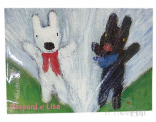 *~Gaspard et Lisa博物館~*B1042800005 麗莎&賈斯伯 黑白狗 名信片-噴水池 明信片 日本製