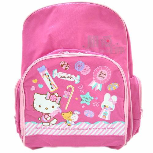 【真愛日本】11063000031 三麗鷗Hello Kitty凱蒂貓 後背包LL-糖果粉 書包 登山包 日本帶回