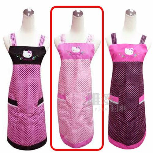 【真愛日本】 11070600003 三麗鷗 Hello Kitty 凱蒂貓 圓點圍裙-粉紅 工作圍裙 防水 台灣製