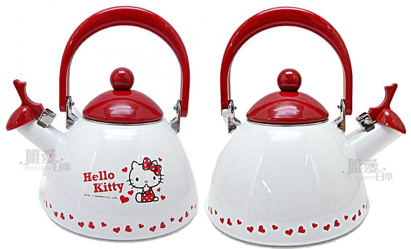 【真愛日本】11092400009 琺瑯琴音壺-點點紅結 Hello Kitty 凱蒂貓 水壺茶壺鳴笛水壺台灣製