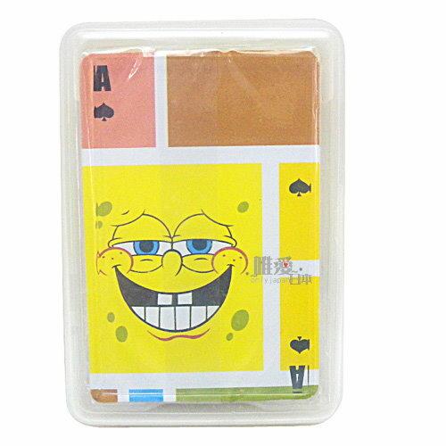 ~*唯愛日本*~B 11102100004 塑膠撲克牌-設計版 海綿寶寶 13變表情撲克卡 正版授權