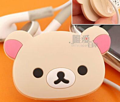 ~*唯愛日本*~ C 9041900007San-X 懶懶熊 牛奶熊 奶油熊 奶熊造型耳機固定夾 耳機線收納夾子